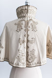 RESERVED Antique Gold Embroidered Capelet