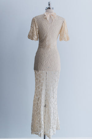 1930s Cream Lace Dress - XS