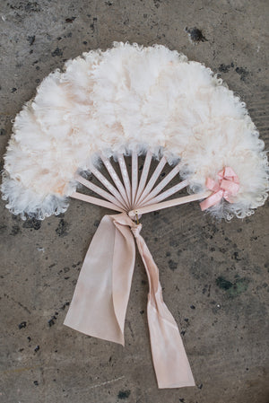 Antique Curled Light Pink Feather Fan
