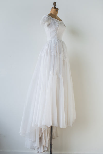 1950s Chiffon and Lace Gown - S