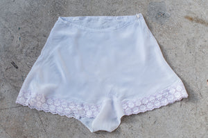1920s Lavender Rayon Tap Pants with Eyelet Lace Trim - M