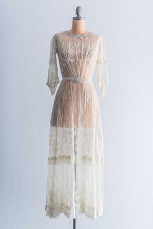 Edwardian Needlepoint Lace Dress - XS