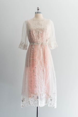 [SOLD] Silk Organza Embroidered Tea Dress