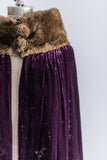 Antique Silk Velvet and Faux Fur Trimmed Cape