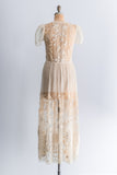 RESERVED 1930s French Knot and Filet Lace Dress - M/L