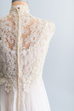 SOLD 1960's Lace and Chiffon Trained Wedding Gown