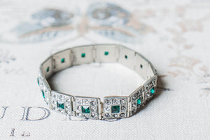 1930's Art Dec Emerald Green Bracelet