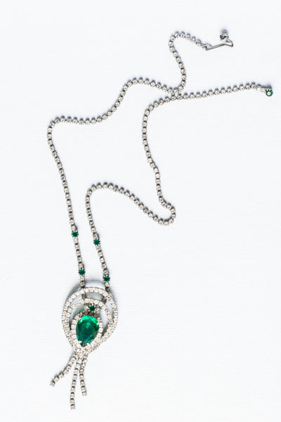 1950's Green Pendant and Rhinestone Necklace