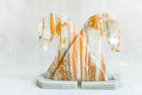 Pair Carved Agate Stone Horse Bookends