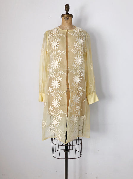 1960s Yellow Sheer Silk Organza Jacket/Duster - M