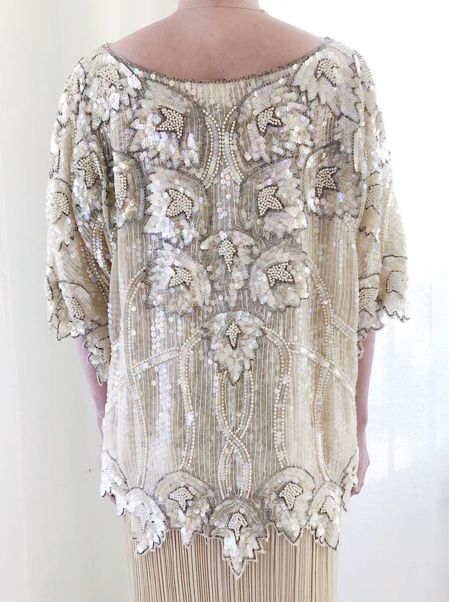 1980s Ivory Silk Sequined Top - M/L