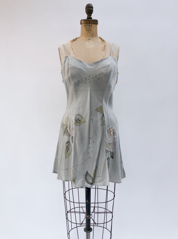 VTG Gray Floral Silk Slip Dress - S