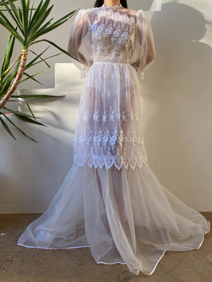 1970s Nylon Chiffon Embroidered Gown - M