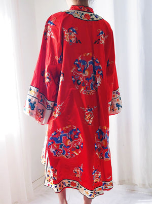 1960s Red Silk and Satin Embroidered Robe - M