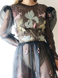1980s Organza Embroidered Dress - S/M