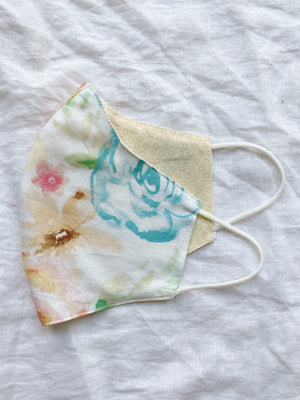 2-in-1 Watercolor Florals Cotton Face Mask with Filter Slot