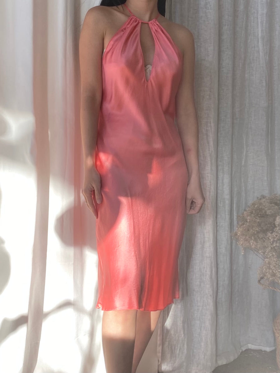 Vintage Coral Silk Slip Dress - S