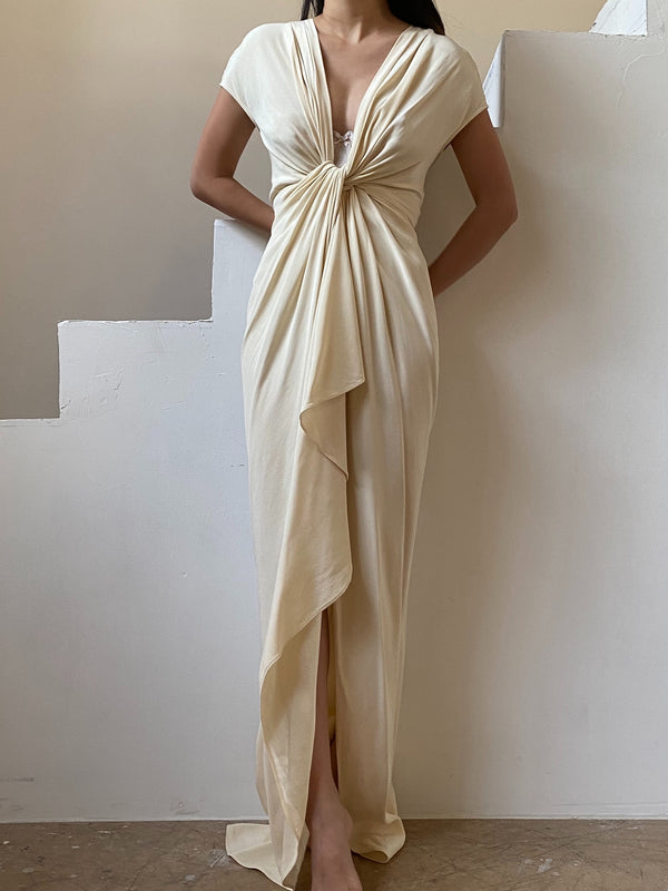 Silk Twisted Draped Gown - XS/S