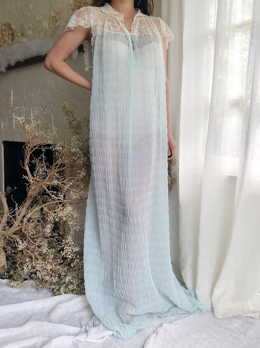 Vintage Tricot and Silk Light Blue Gown - One Size