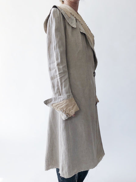 Antique Beige Linen Duster - XS/S