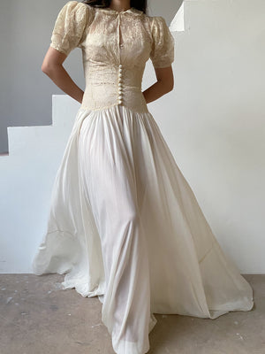 1930s Silk Lace Open Front Gown - XS