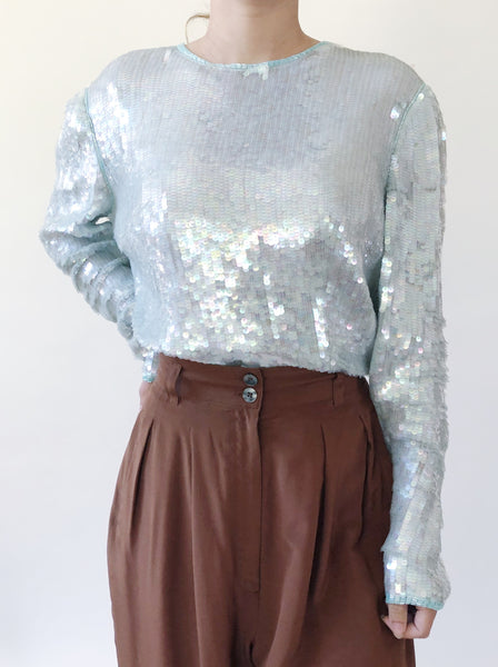 1980s Mint Seafoam Sequin Top - S/M