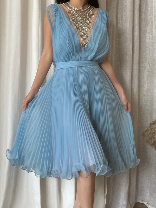 1960s Blue Necklace Chiffon Dress - S
