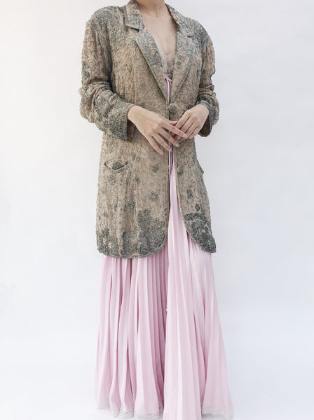 1950s Eaves and Brown Taupe Silk Heavily Beaded Jacket - M