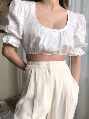 1970s Cotton Puffed Sleeves Cropped Top - XS/S
