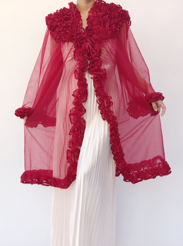 1960s Ruby Tricot Ruffle Dressing Robe - One Size