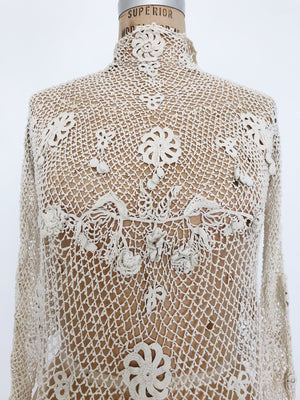 Antique Crochet Irish Lace Top - S/M