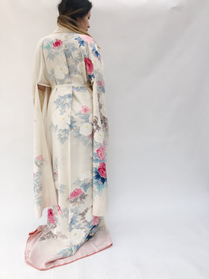 Rare Vintage Painted Floral Silk Crepe Kimono - One Size