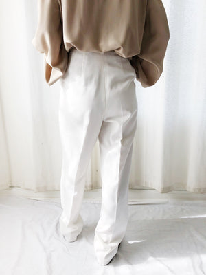 "1980s White Cotton High Waisted Pants - S (26"")"