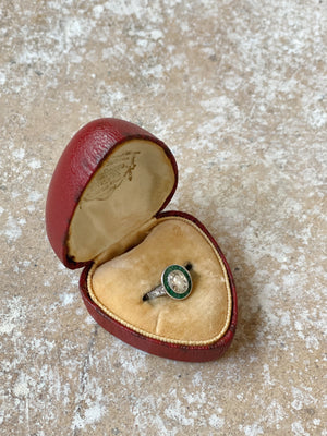 Rare Antique Heart Leather Ringbox