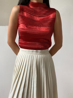 Vintage Ruby Micro Pleated Top - S/M