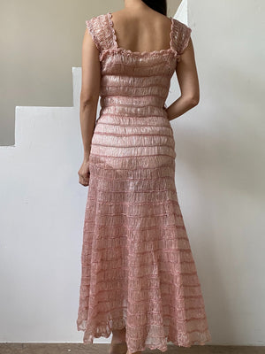 1950s Pink Silk Ribbon Dress - S