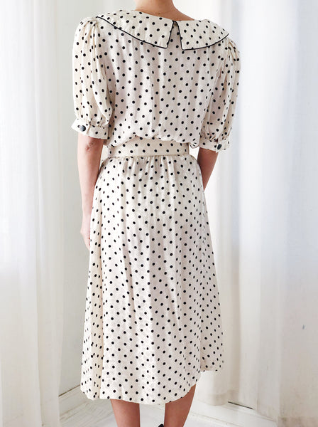 1980s Dotted Silk Dress - S