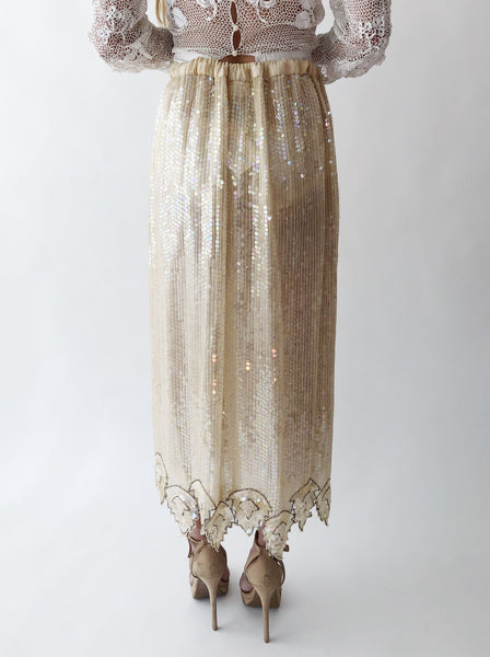 1980s Ivory Silk Sequin Skirt - S-L