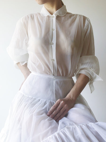 1960s Ivory Sheer Nylon Blouse - S/M