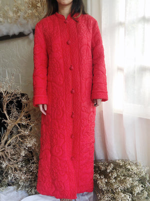 1950s Red Quilted Coat - M