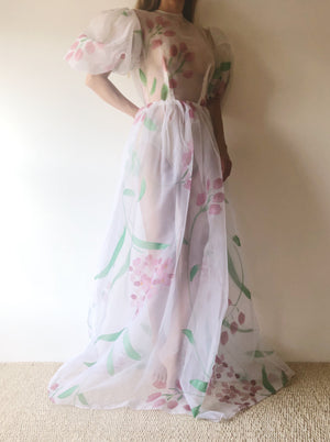 Vintage Hand Painted Sheer Puff Sleeve Gown - XS/S