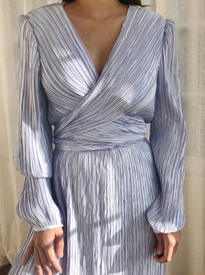 1980s Periwinkle Micropleated Dress - L/US12