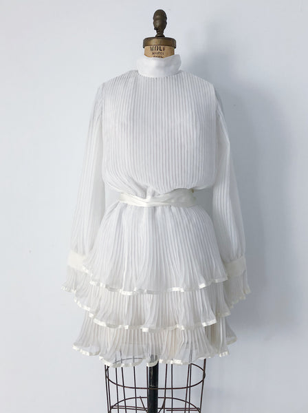 1960s Ivory Pleated Chiffon Dress - S/M