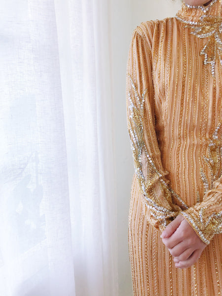 1980s Golden Peach Beaded Silk Gown - S
