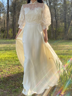 1980s Puff Sleeve Wedding Dress - S/M