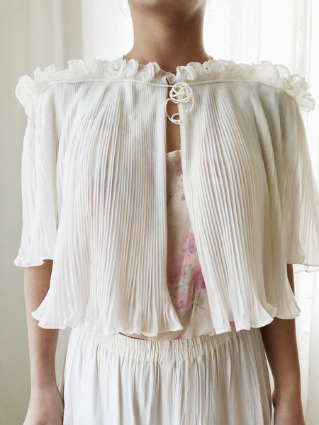1950s Ivory Pleated Jacket - One Size