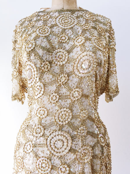 1980s Ivory and Gold Silk Circle Pattern Dress - S/M
