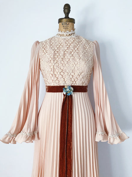 1970s Peachy Ecru Rayon Pleated Gown - XS