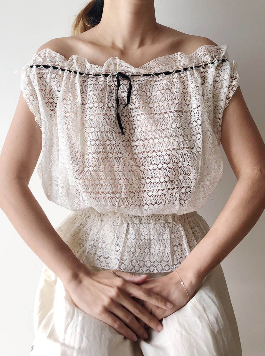 Antique Crochet Lace Top - M