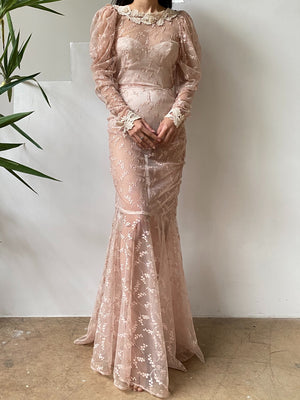 1980s Dusty Pink Sheer Mutton Lace Gown - S/M
